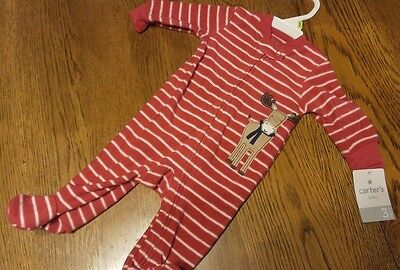 Size 3 Month NEW Carter's Baby Clothes Pajama Sleeper RED Christmas REINDEER NWT