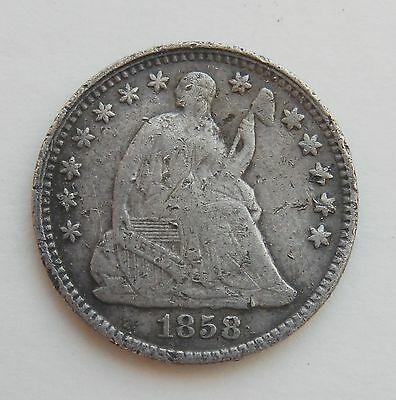 1858 Seated Liberty Half Dime Silver ~ 5¢ Coin