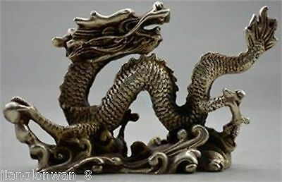 Chinese Collection Handmade Tibet silver Dragon Lucky Statue
