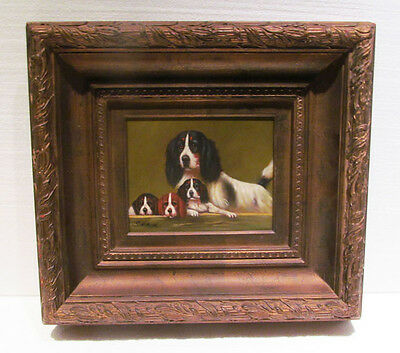 English Springer Spaniel Mother Dog with Puppies Framed Painting - Fabulous!
