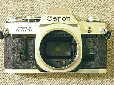 "Used ""Canon AT-1"" 35mm SLR Film Chrome Camera Body With Case"