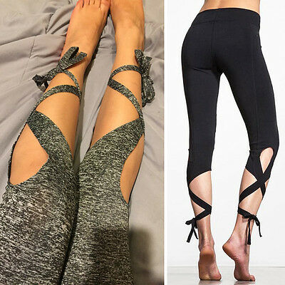 Women's Bandage Pants Sports Gym Yoga Fitness Cropped Leggings Stretch Trousers