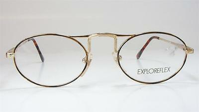 Retro Gold Tortoise Oval Art Deco Neo-Industrial Wire Vintage NOS Eyeglass Frame