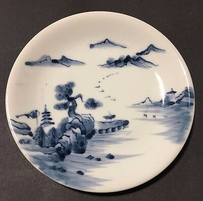Signed Antique Oriental Asian Porcelain Art Pottery Plate Dish Water Scene Blue