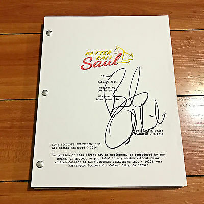 "BOB ODENKIRK SIGNED BETTER CALL SAUL EP 1x06 ""FIVE-O"" SCRIPT w/ PROOF PHOTO"