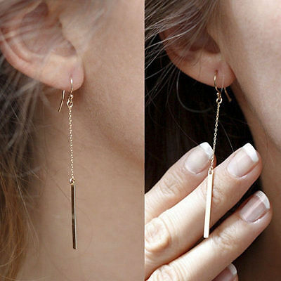Womens Gold Plated Long Dangle Drop Chain Hook Earrings Ear Stud Fashion Jewelry