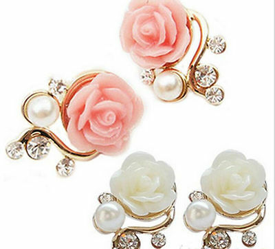 1Pair HOT Fashion Women Gold Plated Rose Pearl Ear Stud Earrings Jewelry Gift