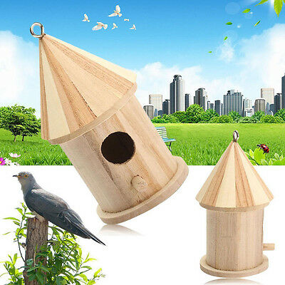 New Wooden Bird House Birdhouse Hanging Nest Nesting Box Hook Home Garden Decor