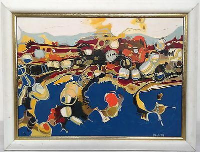 vintage 1988 oil painting, abstract seascape/landscape, Gold Coast Queensland