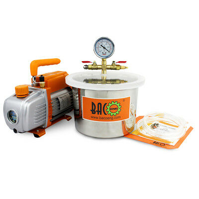 BACOENG 5.7L Stainless Steel Vacuum Chamber & 3CFM Vacuum Pump Degassing Silicon
