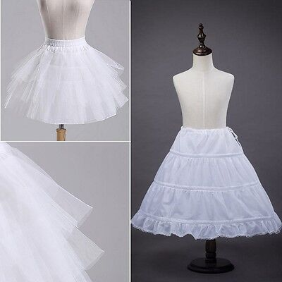 Flowergirl Bridesmaid Children Girl Dress White Petticoat Child Underskirt Kid