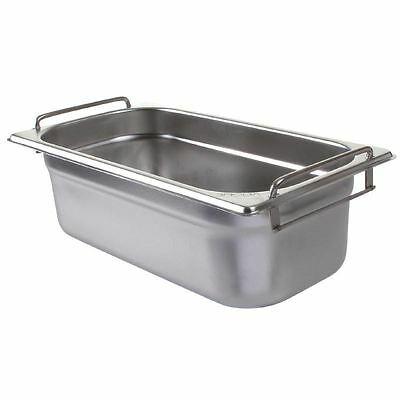 Vogue Stainless Steel 1/3 Gastronorm Pan with Handles 100mm Container Storage