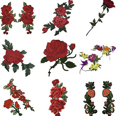 Flowers DIY Embroidered Iron on Patch Clothes Fabric Sticker Badge Applique Hot