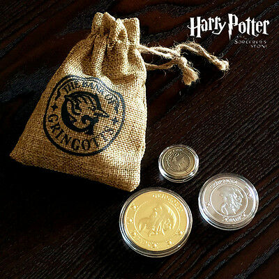 3PCS Harry Potter Hogwarts Gringotts Bank Wizarding Galleons Commemorative Coins