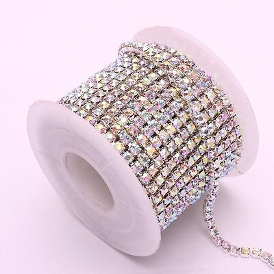 Hot 10 Yards Silver & Gold Crystal AB Rhinestone Chain DIY Sewing Accessories