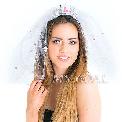 L Plate Comb Crown Veil Pink & white Bride To Be Hen Night Party Accessory AU