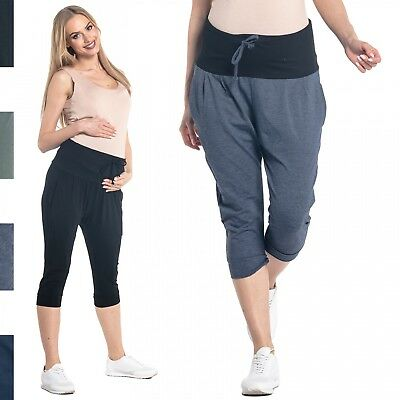 Happy Mama. Women's Maternity Crop Pants Elastic Contrast Belly Waistband. 582p