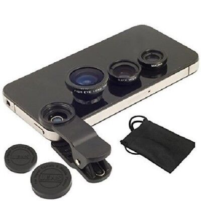 Kit 3 In 1 Clip Lens Lenti Iphone Smartphone Cellulare Tablet Wide Macro Fish
