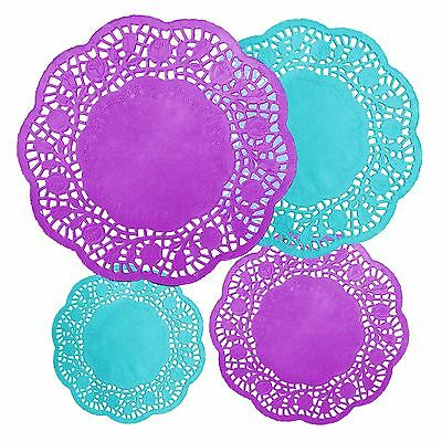 40 pc Purple Turquoise Blue Mad Hatters Tea Party Round Doilies Party Decoration
