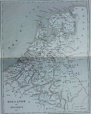 1863 Holland Belgium Netherlands Antique French Map Europe Engraving