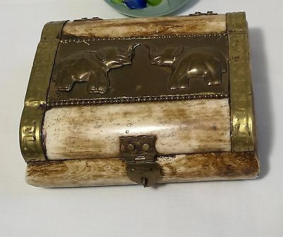 Vintage Hand made camel bone brass cigarette box /Keepsake Box with Lid