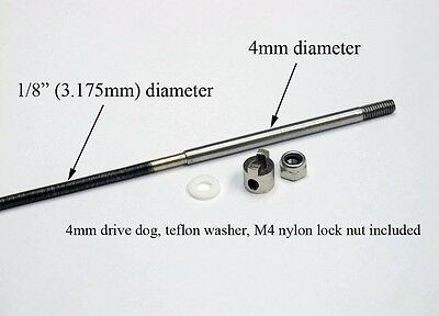 """1/8"""" flexible cable with 4mm stainless steel shaft 300mm RC Boat"""