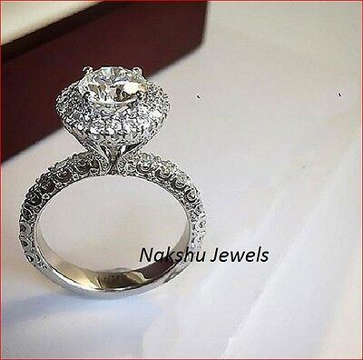 Antique 2.00Ct Off White Moissanite Round Solitaire Engagement Ring 925 Silver