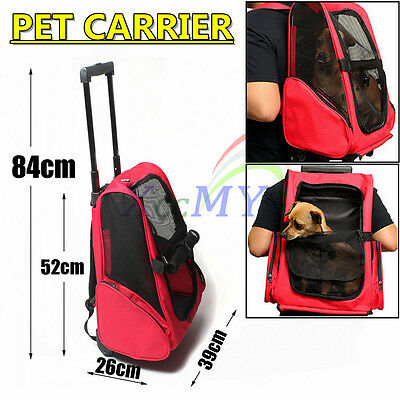 NEW Travel Pet Carrier Stroller Airline Back Pack Dog Cat Puppy Trolley Bag Red