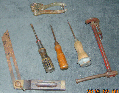Mix Lot Vintage Tools Wood Handle Screwdrivers Drivers Plumbers Wrench Stanley