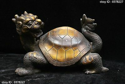 China Folk Fengshui Bronze Wealth Animal Dragon tortoise Turtle Statue Sculpture