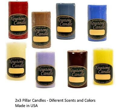 2 x 3 Solid Pillar Candles Different  Scents and Colors- Made in USA