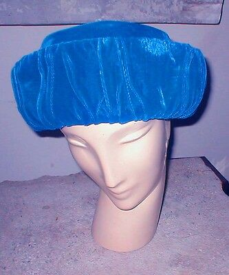 Vintage, 50s Sunday, Business DARK Blue VELVET Hat