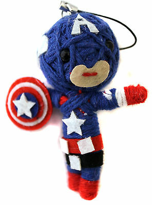 Marvel Comics Captain America 2.5 Inch String Voodoo Doll Keychain Charm/