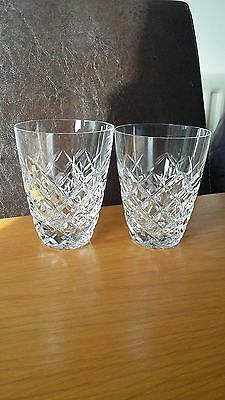Vintage Pair Of Elegant Cut Lead Crystal Glass Whisky Tumblers Diamondcutdesign