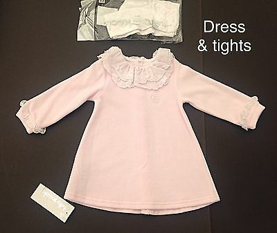 Bnwt Tutto Piccolo Rrp £22 Girls Baby Pink Dress & White Tights - Age 12 Months