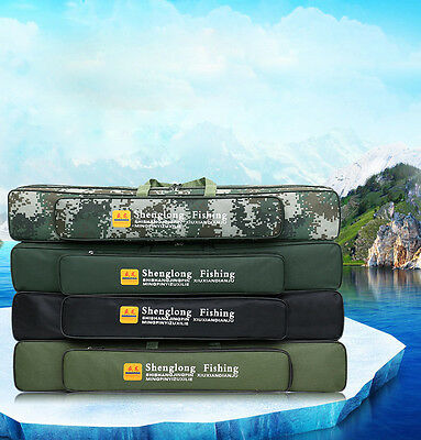 Canvas Outdoor Fishing Rod Case Bag Travel Organizer Tools Storage Three-Layer