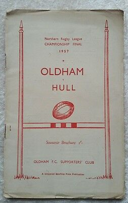 Rugby League Championship Final 1957 Souvenir Brochure Hull V Oldham
