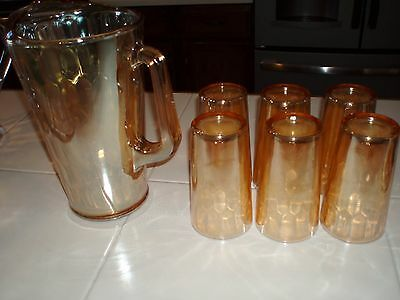 Carnival glass Pitcher and 6 glasses