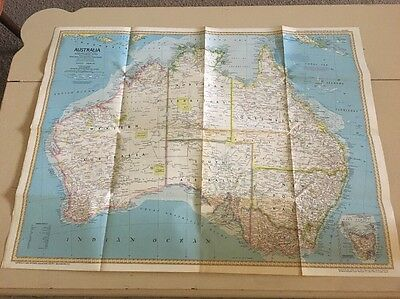 Vintage National Geographic Map. Australia. 1979 Land Of Living Fossils.