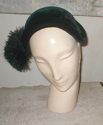 Vintage 50's SASSY Black Velvet Hat with a Side Pom Pom Feather