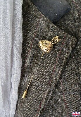 Hare, rabbit brass tone brooch / hat pin. Showing, wedding etc