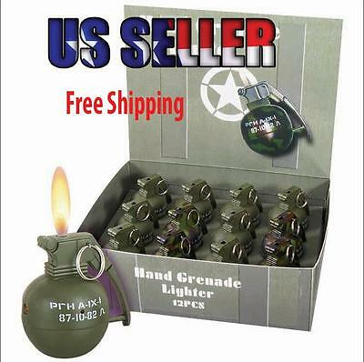 1Pc Mini Hand Grenade Metal Refillable Lighter W/Regular Flame 3 Color Available