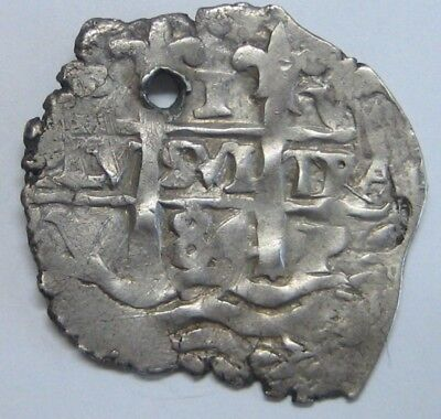 1684 Potosi 1 Real Cob Charles Ii Assayer V Spanish Colonial Bolivia Silver Coin