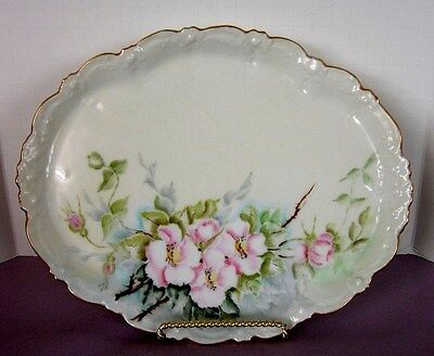 LIMOGES DRESSER TRAY / Hand Painted / Signed / Pink & White Roses / MINT!