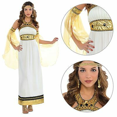 Goddess Fancy Dress Costume Roman Greek Toga Cleopatra Ladies Outfit 8-18 Plus