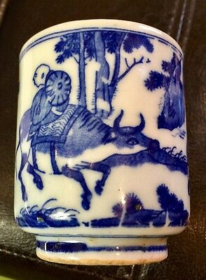 Very Old Chinese Blue And White Porcelain Cup