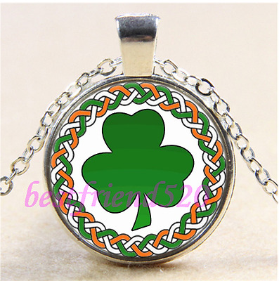 Celtic irish shamrock Cabochon Glass Tibet Silver Chain Pendant Necklace#CA3