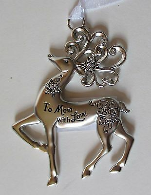 AD To Mom with love Merry Reindeer Christmas Ornament Ganz Car Charm