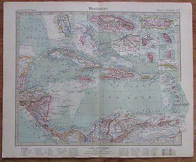 1926 WESTINDIEN West India Cuba Haiti Jamaica Kupferstich Alte Landkarte Old Map