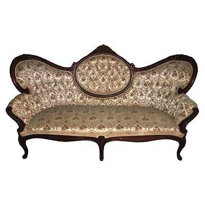 Antique Tufted Velvet Victorian Settee Couch